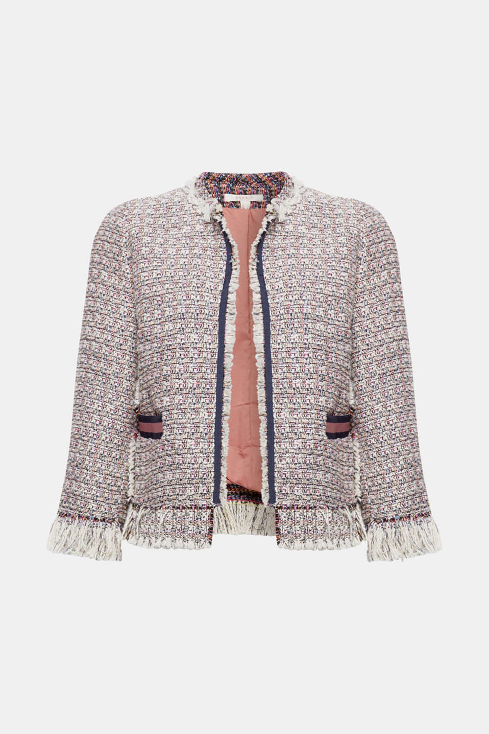 This short, boxy bouclé jacket with a glitter effect and fringing will give your look a feminine, luxurious charm!