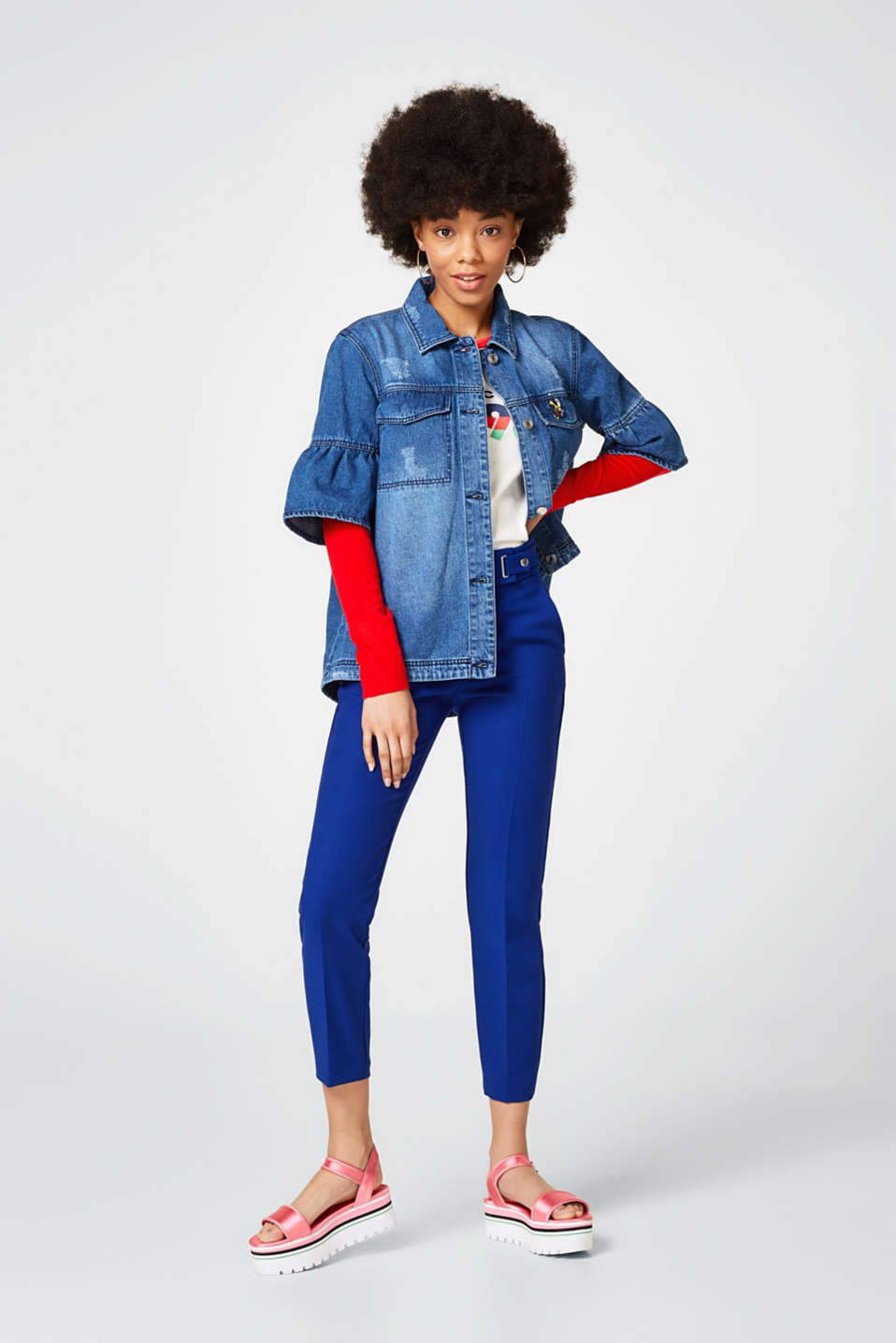 A-line denim jacket in 100% cotton