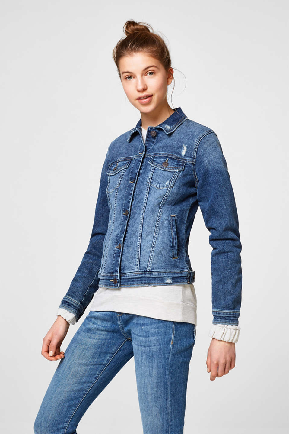 Esprit - Getailleerd denim jack met stretch