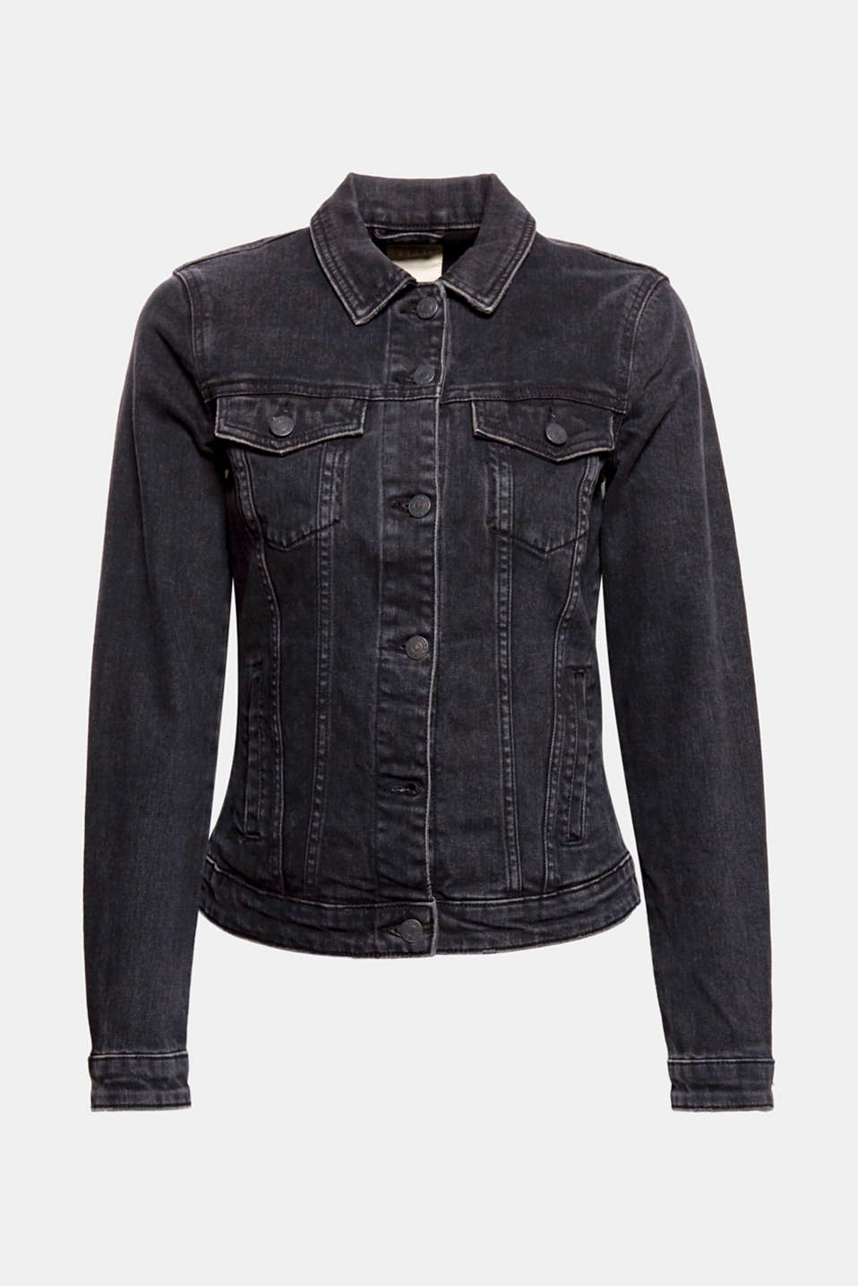 Black is beautiful – also on this fitted denim jacket with subtle vintage effects and added stretch for comfort!