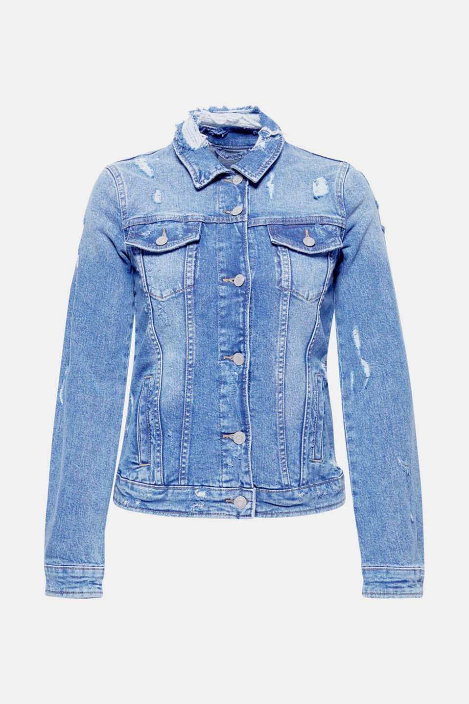 The more the better: Heavy distressed effects give this denim jacket its cool, trendy look!