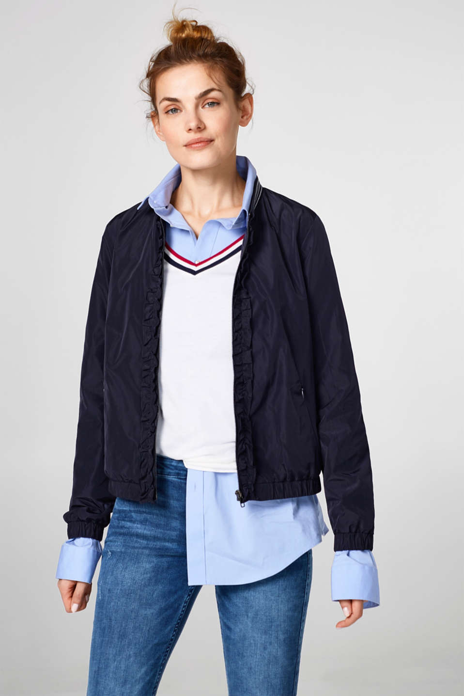 Esprit - Nylon bomber jacket with a frilled trim