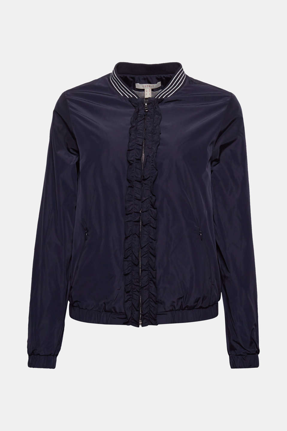 Sporty meets romantic with this lightweight bomber jacket made of smooth nylon with a ruffle trim on the zip!