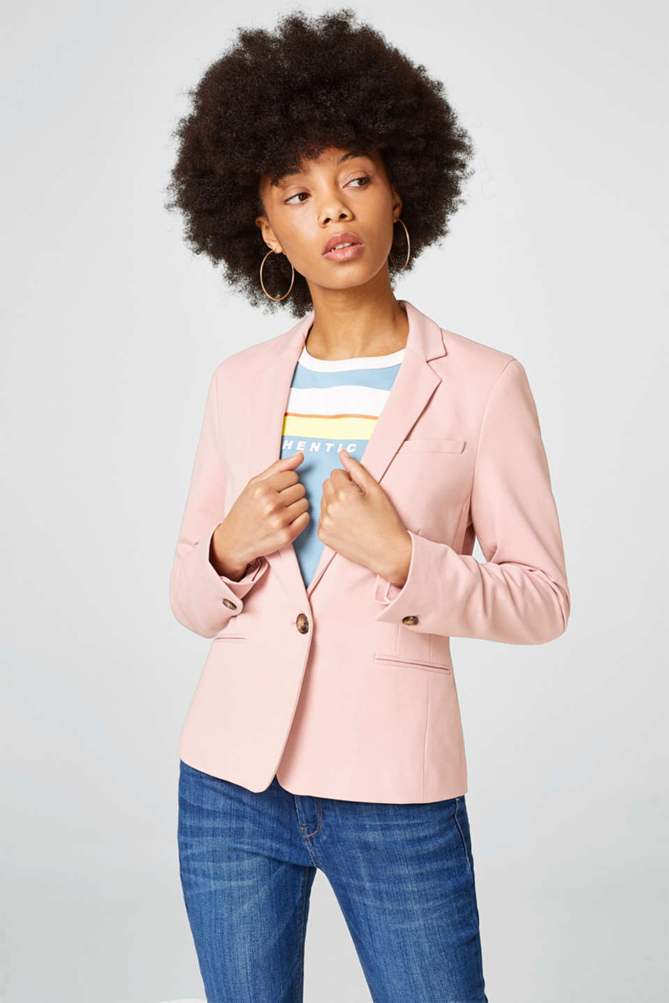 Esprit - Fitted stretch jersey blazer
