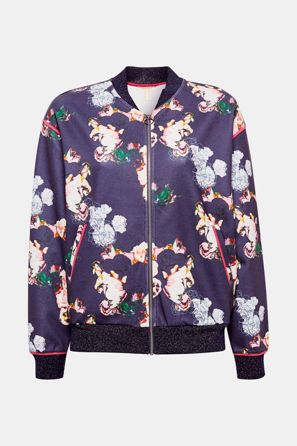 The bomber jacket has just become feminine: with a striking, colourful floral print and glittery knitted cuffs!