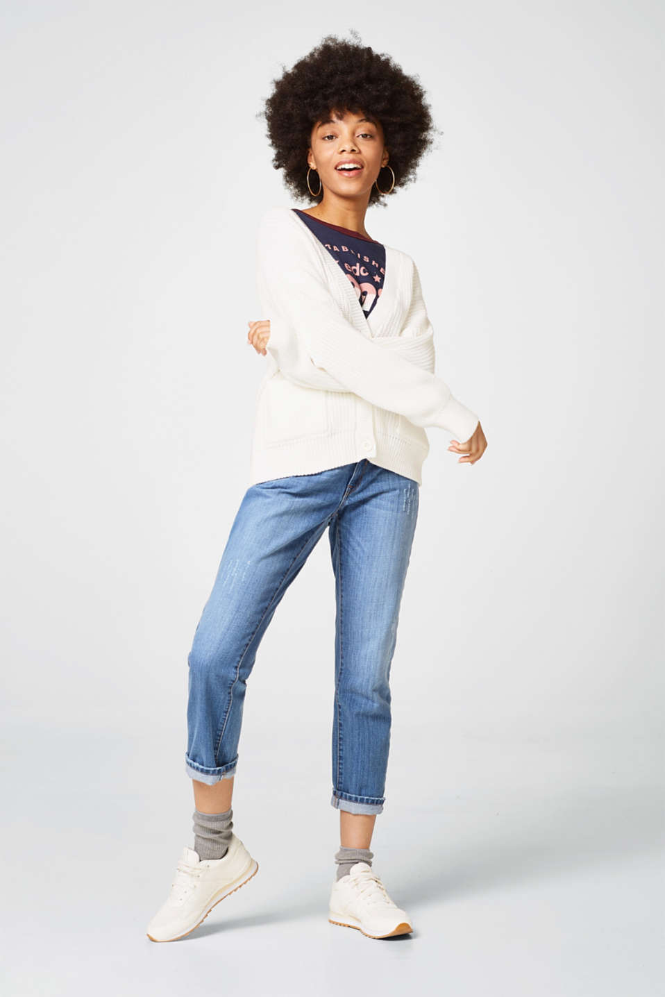 Chunky knit cardigan with lace-up effects