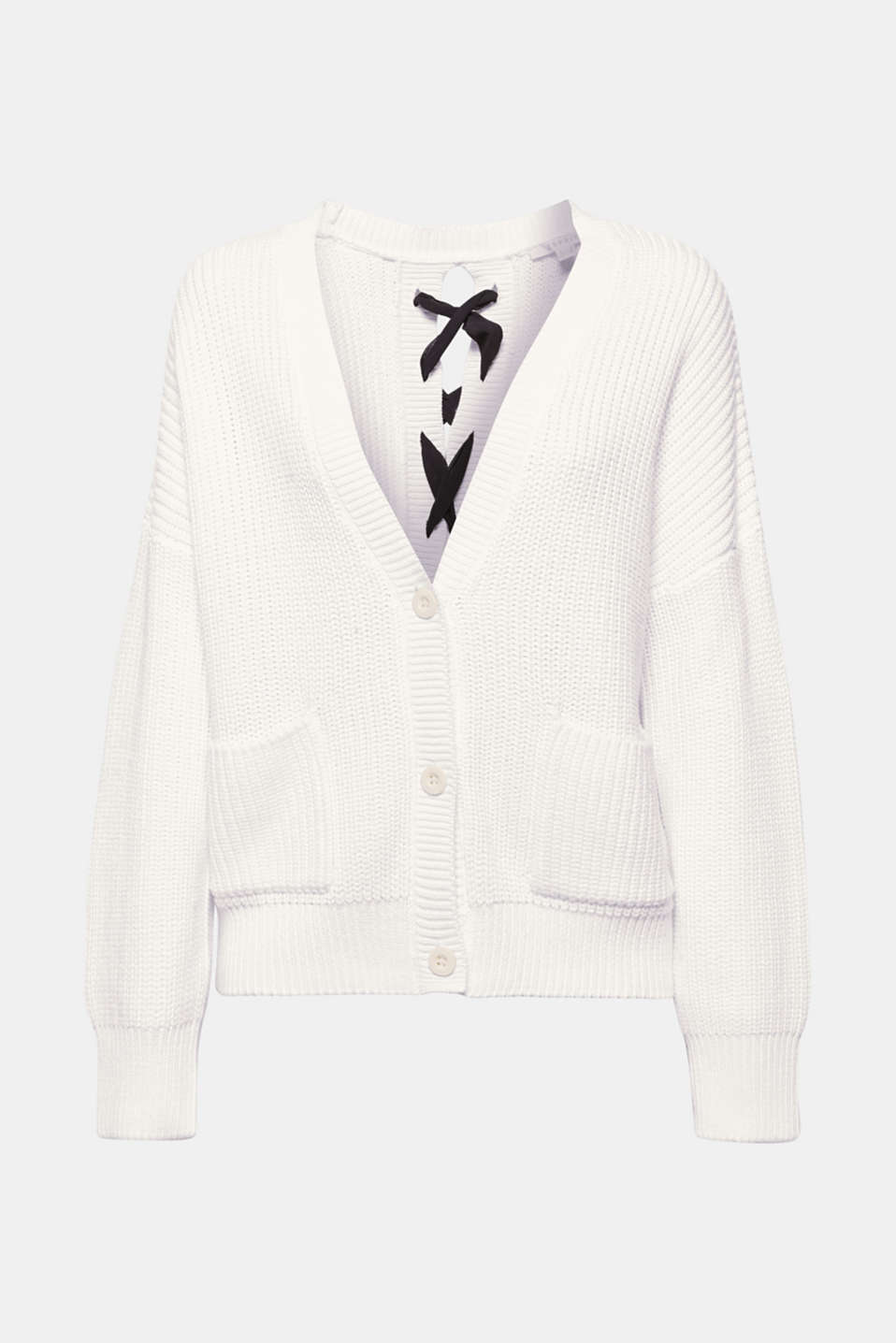 Sporty at the front, sophisticated at the back: The lacing with chiffon bands ensures this cardigan has a new look!