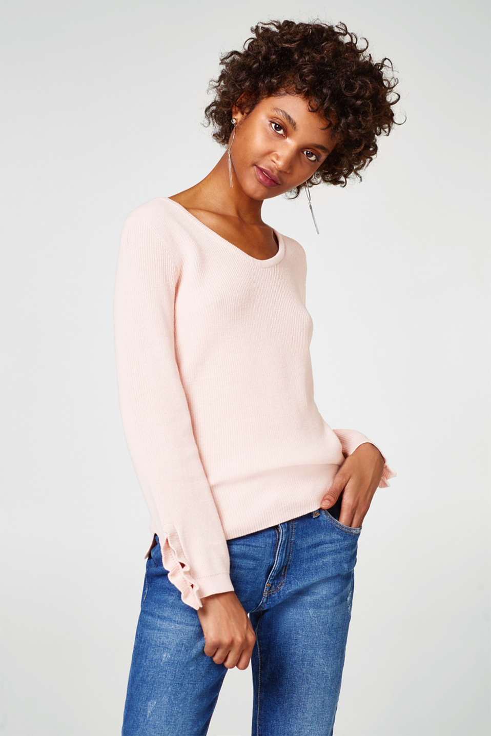 Esprit - Ruffle jumper, 100% cotton