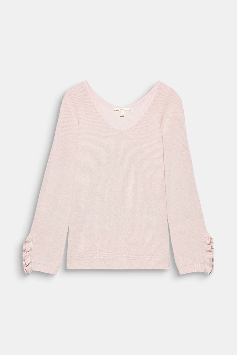 Frills on the sleeves and the rounded V-neckline give this cotton jumper its feminine edge!