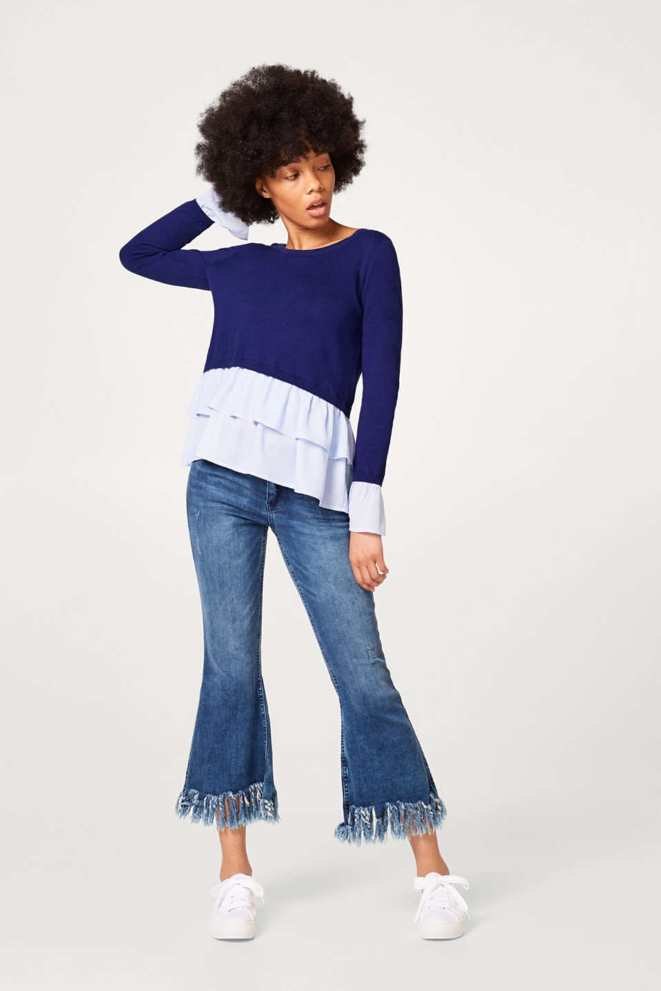 Nautical jumper with fabric frills