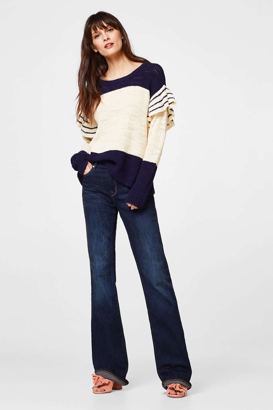 Textured colour-block jumper with frills