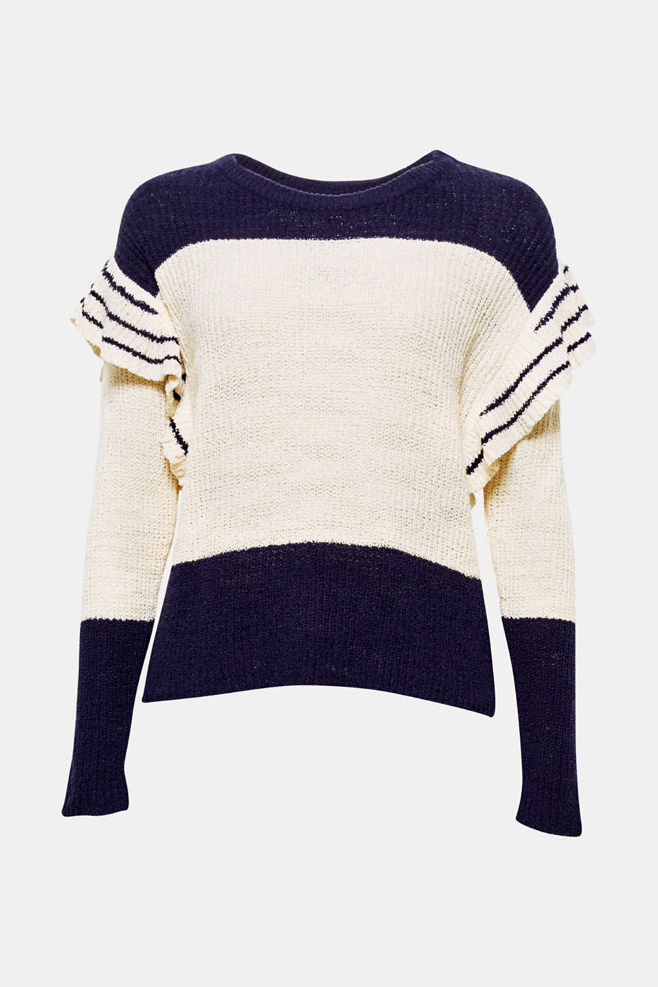 Great yarn, distinctive colour blocking and voluminous frills: this casual jumper gives you some great fashion details!
