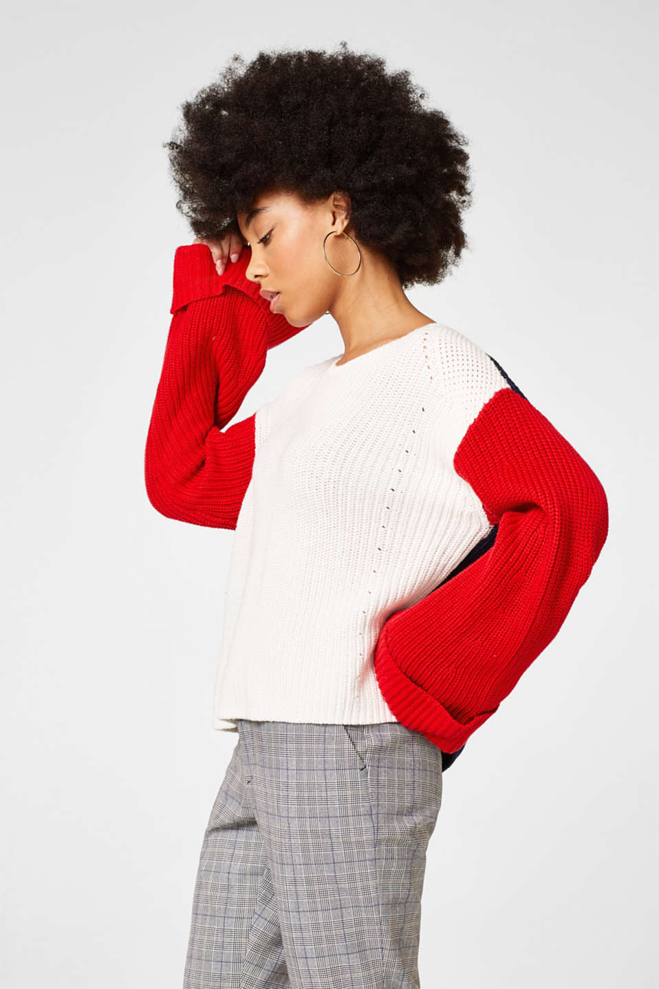 Esprit - Casual colour block jumper, blended cotton