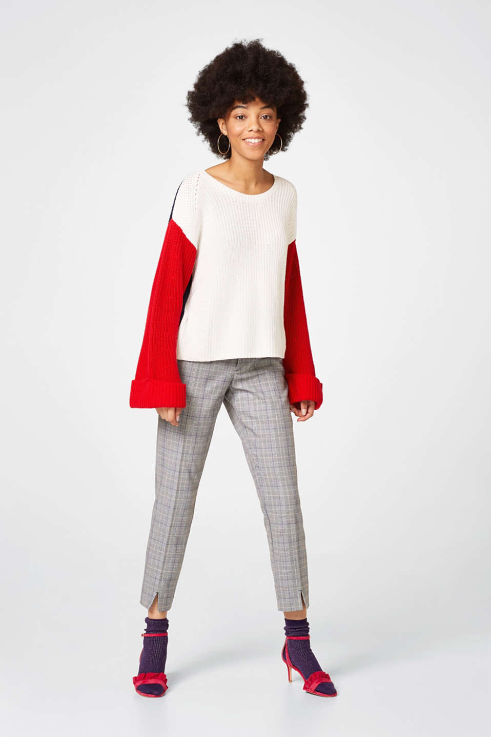 Casual colour block jumper, blended cotton