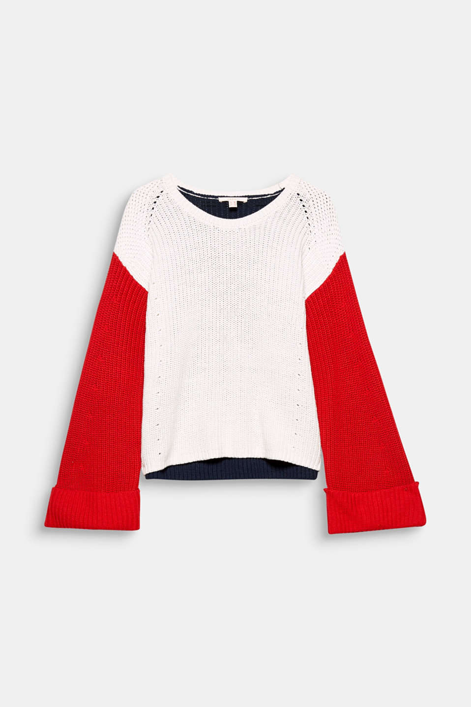 With its stylish cut and trendy colour blocking, this boxy, short jumper with trumpet sleeves will be a new favourite!