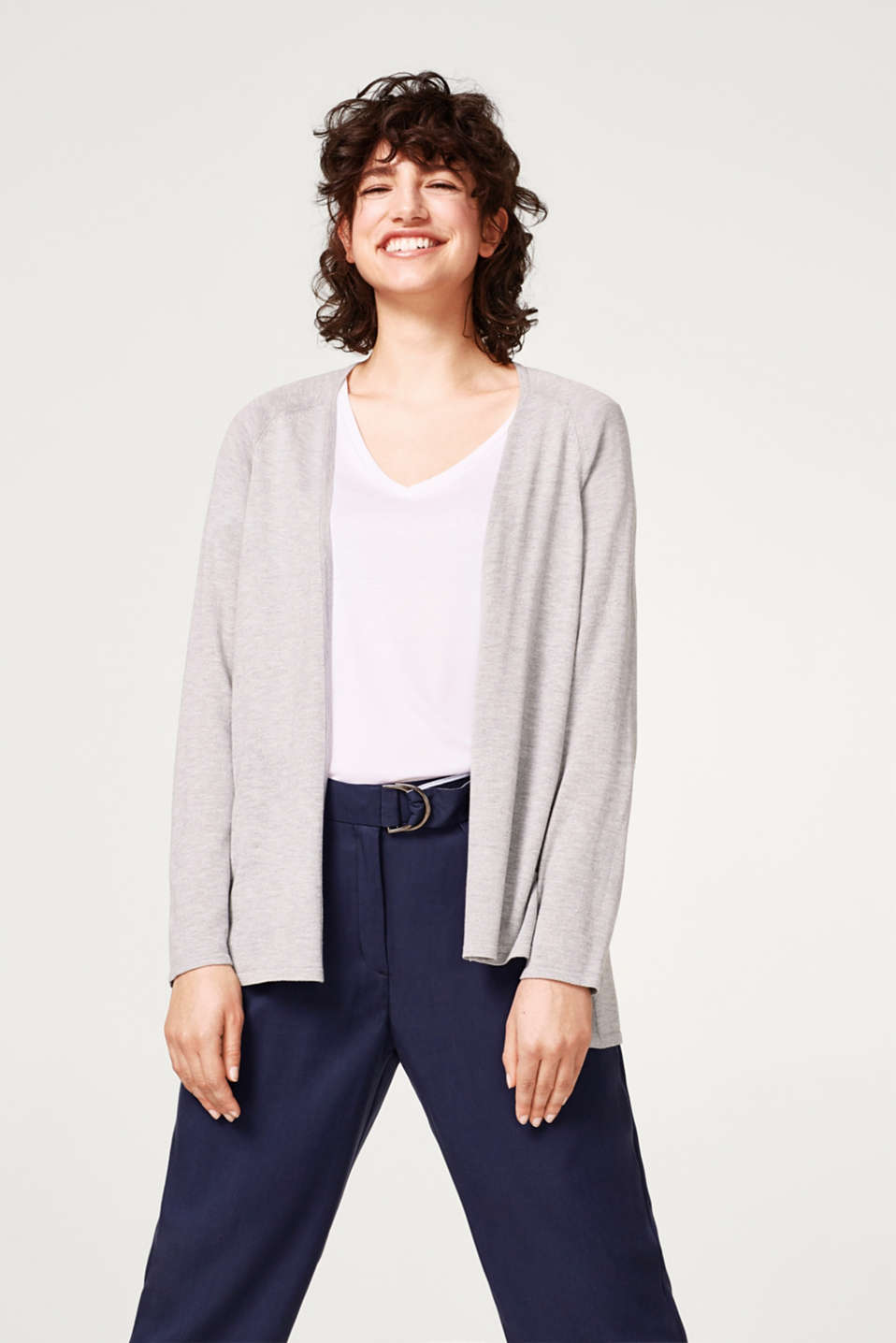 Esprit - Open cardigan with a high-low hem