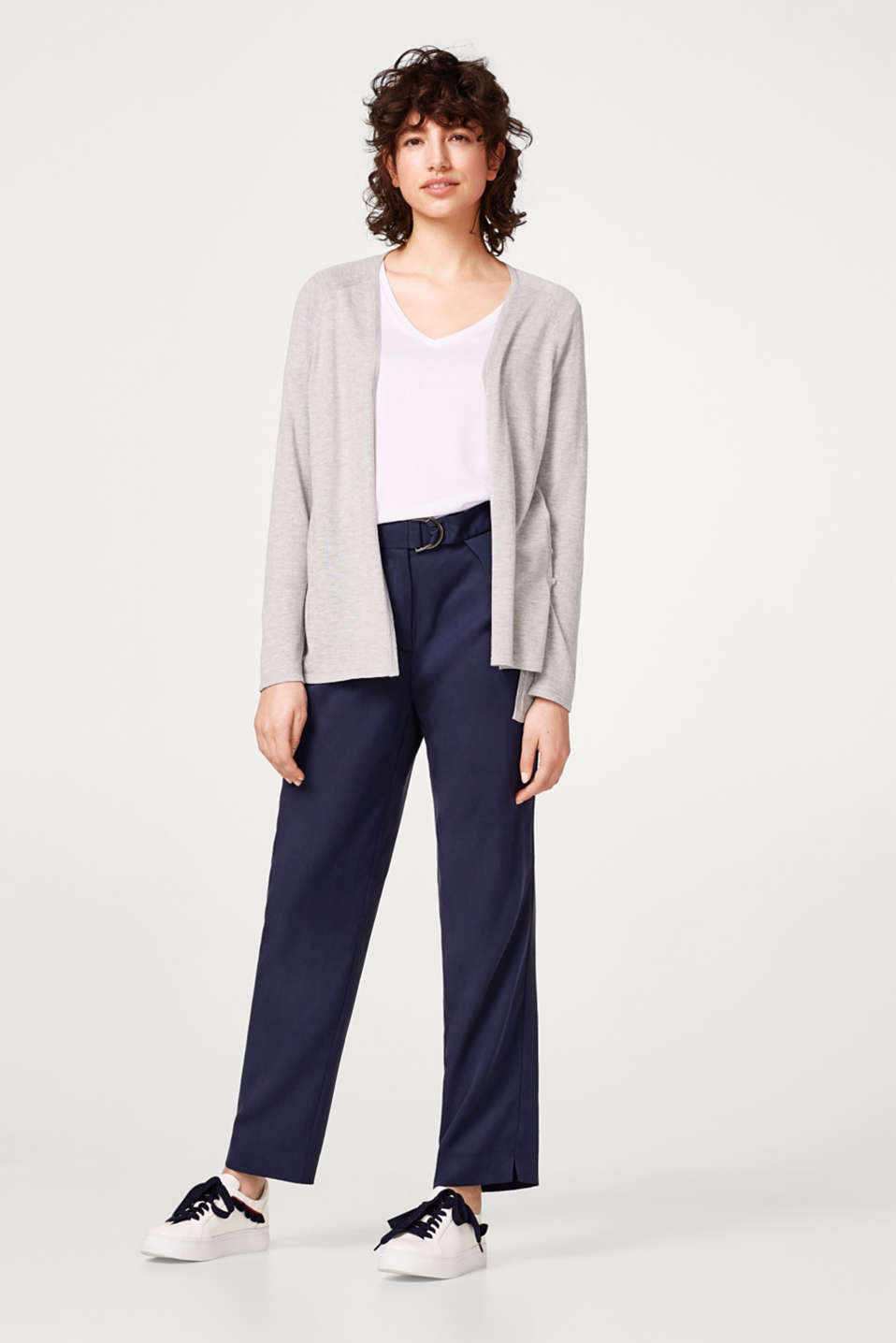 Open cardigan with a high-low hem