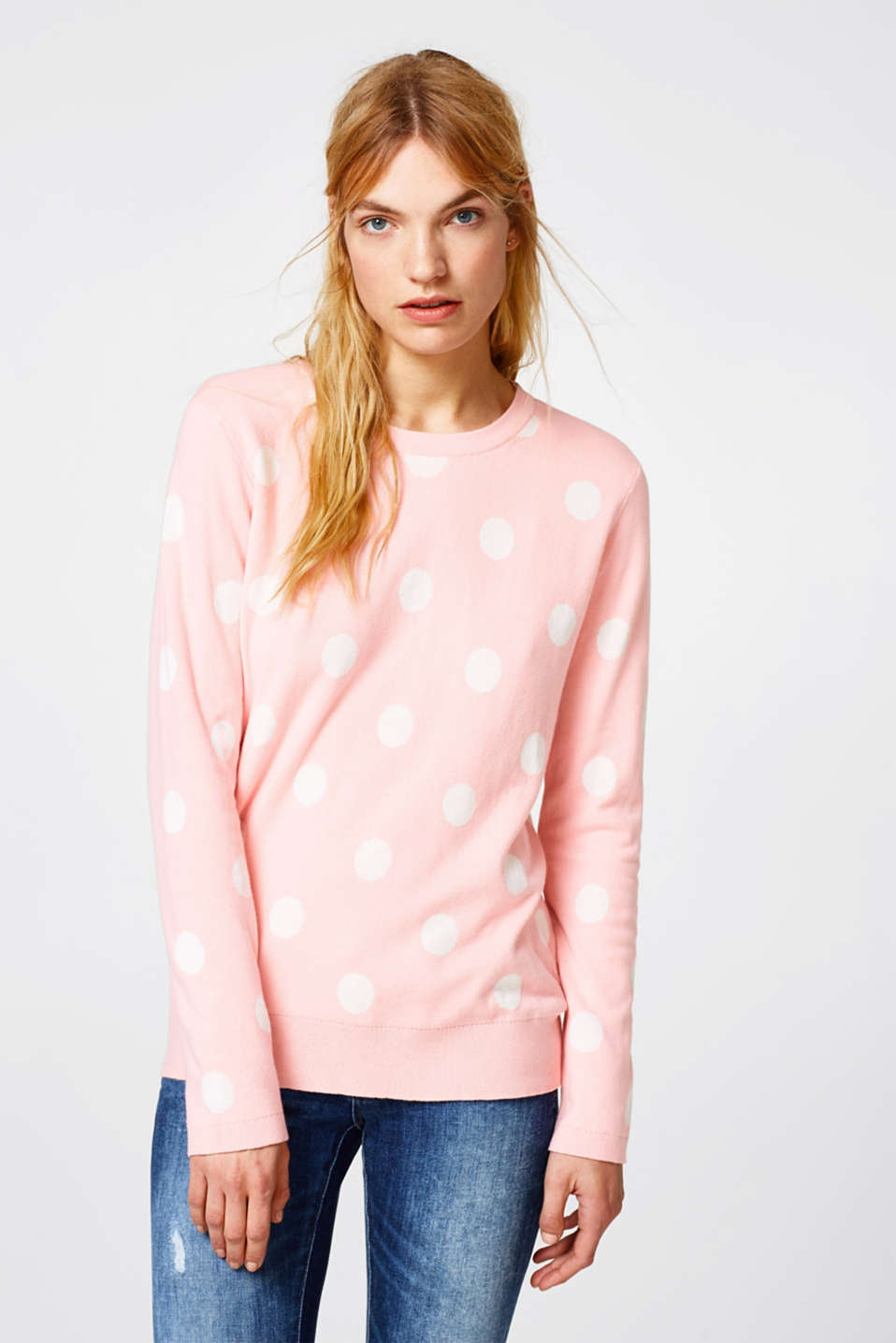 Esprit - Jumper with polka dots, 100% cotton