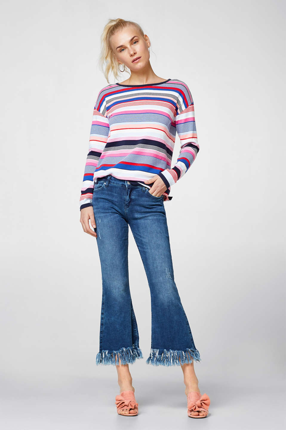 Multi-colour jumper in 100% cotton