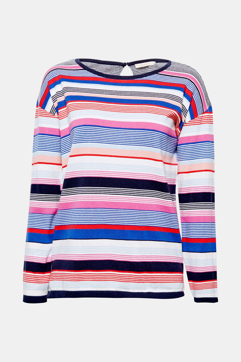 Say hello to your new, good-vibe jumper - featuring vibrant, multi-colour stripes and a casual, comfy cut!