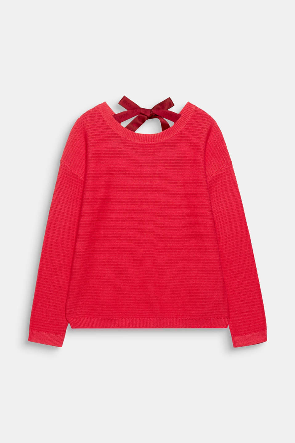 Stylish and casual at the front, pretty and trendy at the back, this textured oversized jumper boasts a bow at the back!