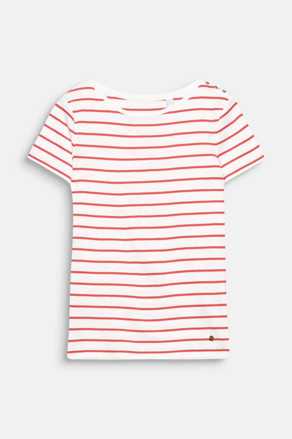 This T-shirt is a super soft, sporty, striped fashionable basic with decorative shoulder buttons!