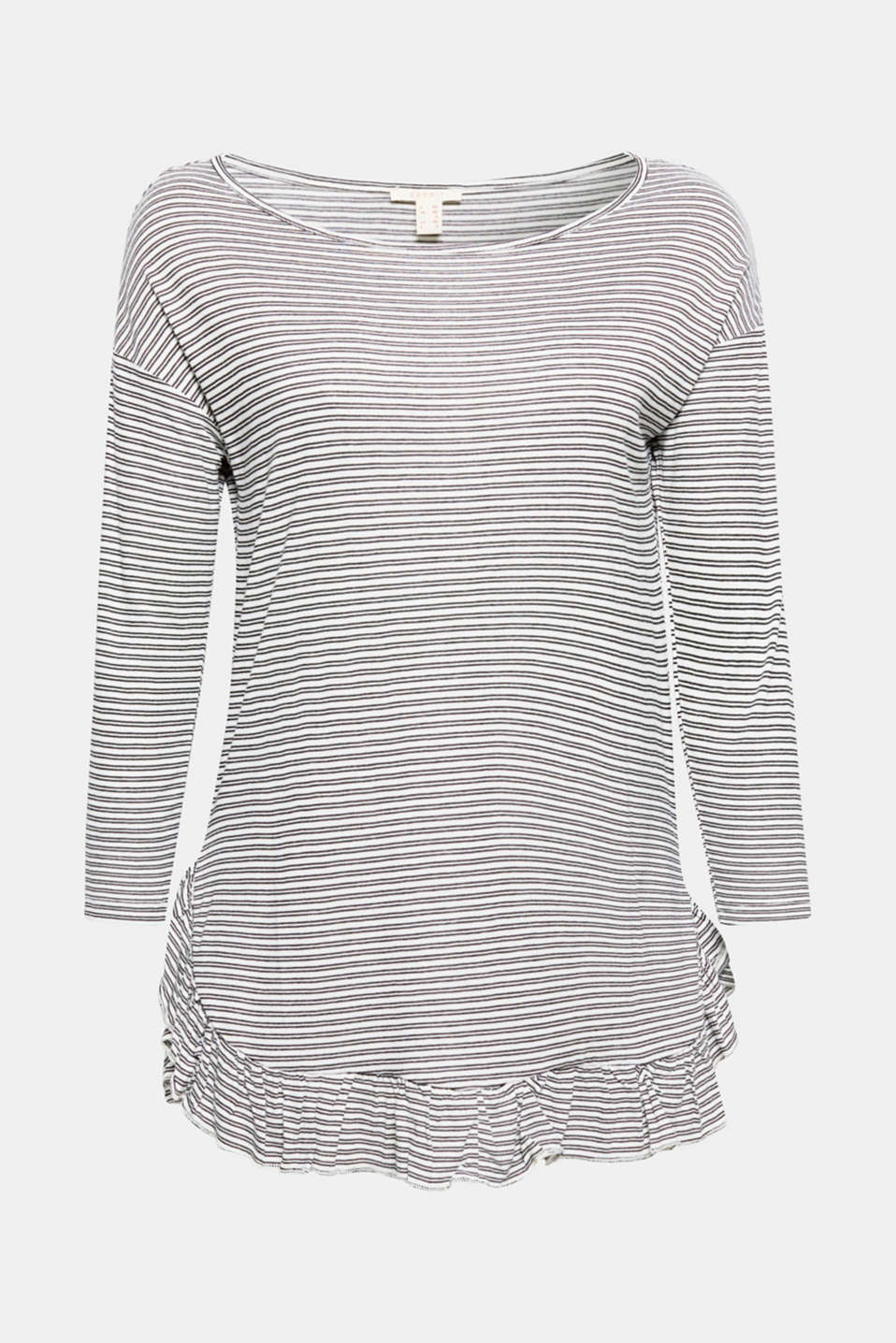 This fashionable striped top feels beautifully soft against the skin and features a trendy, pretty frilled hem!