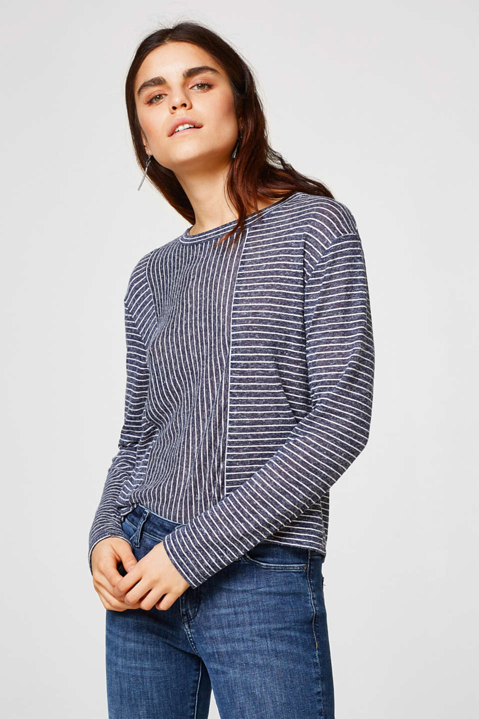Esprit - Airy, boxy long sleeve top + mixed stripes