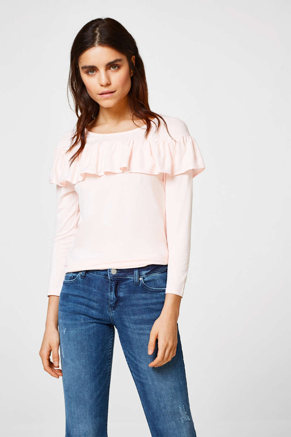 Esprit - Stretch top with a pretty frill