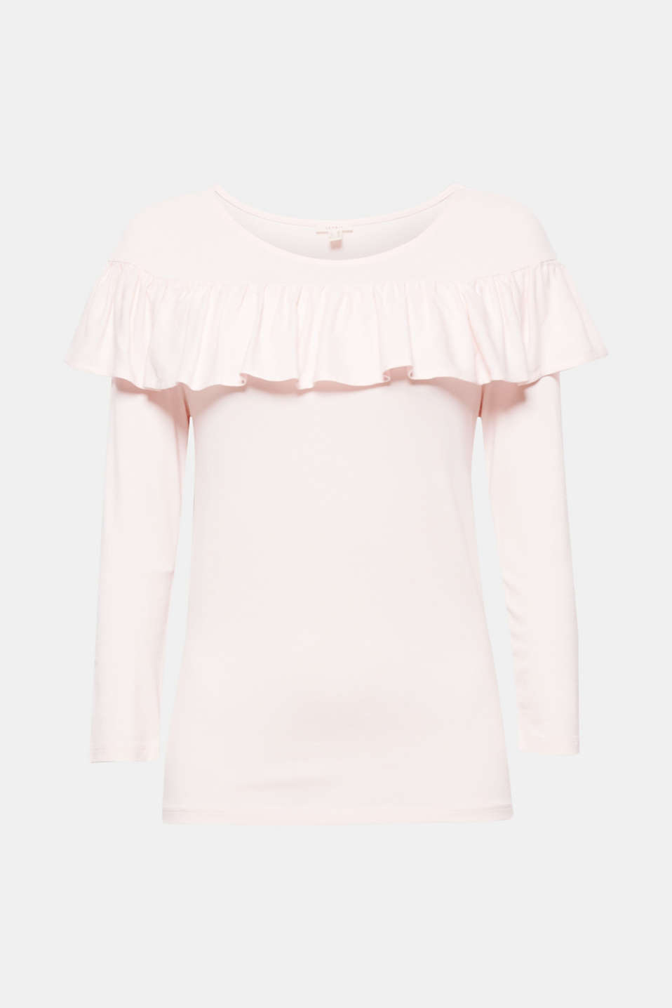 The frill is sure to turn heads: top made of soft jersey in a straight cut with three-quarter length sleeves.