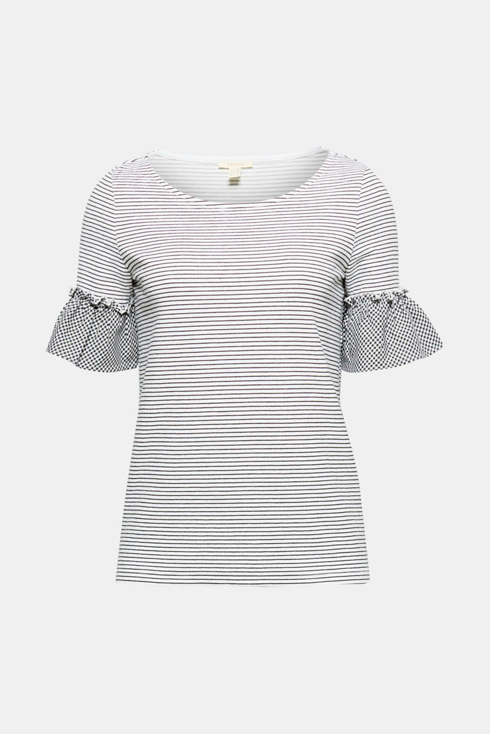 The mix of thick, soft jersey with stripes and lightweight fabric with a gingham check gives this top its new look!