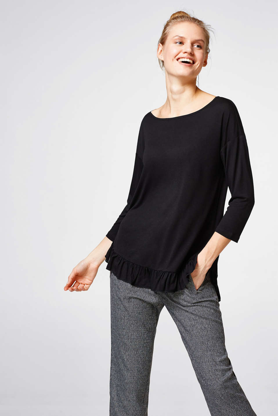 Esprit - Smooth top with a frilled hem