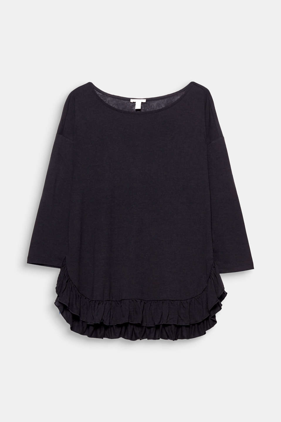 This soft top with three-quarter length sleeves and a frilled hem is super comfortable, trendy and pretty!