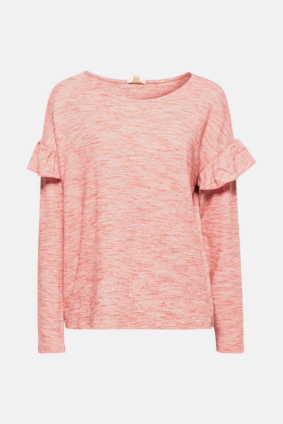 Fab fusion: the sporty, melange slub jersey and pretty sleeve frills make this long sleeve top bang on trend!