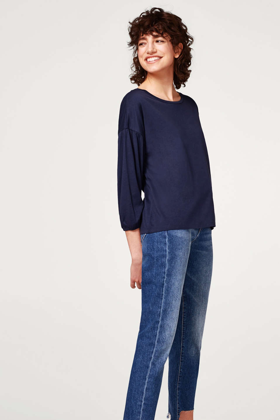 Esprit - Soft long sleeve top with balloon sleeves