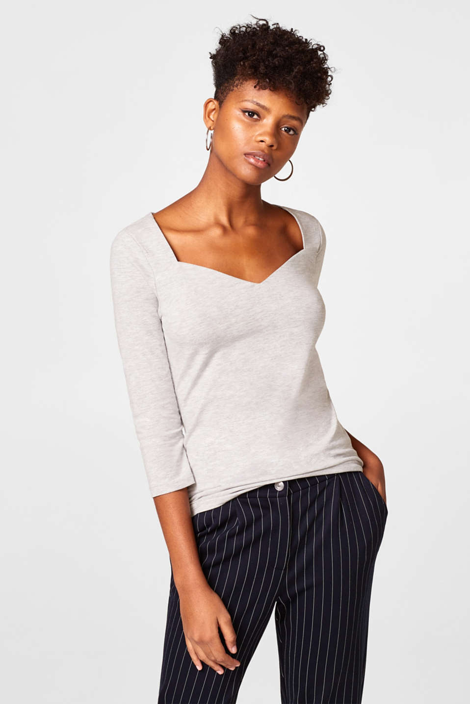Esprit - Feminine stretch top in a melange look