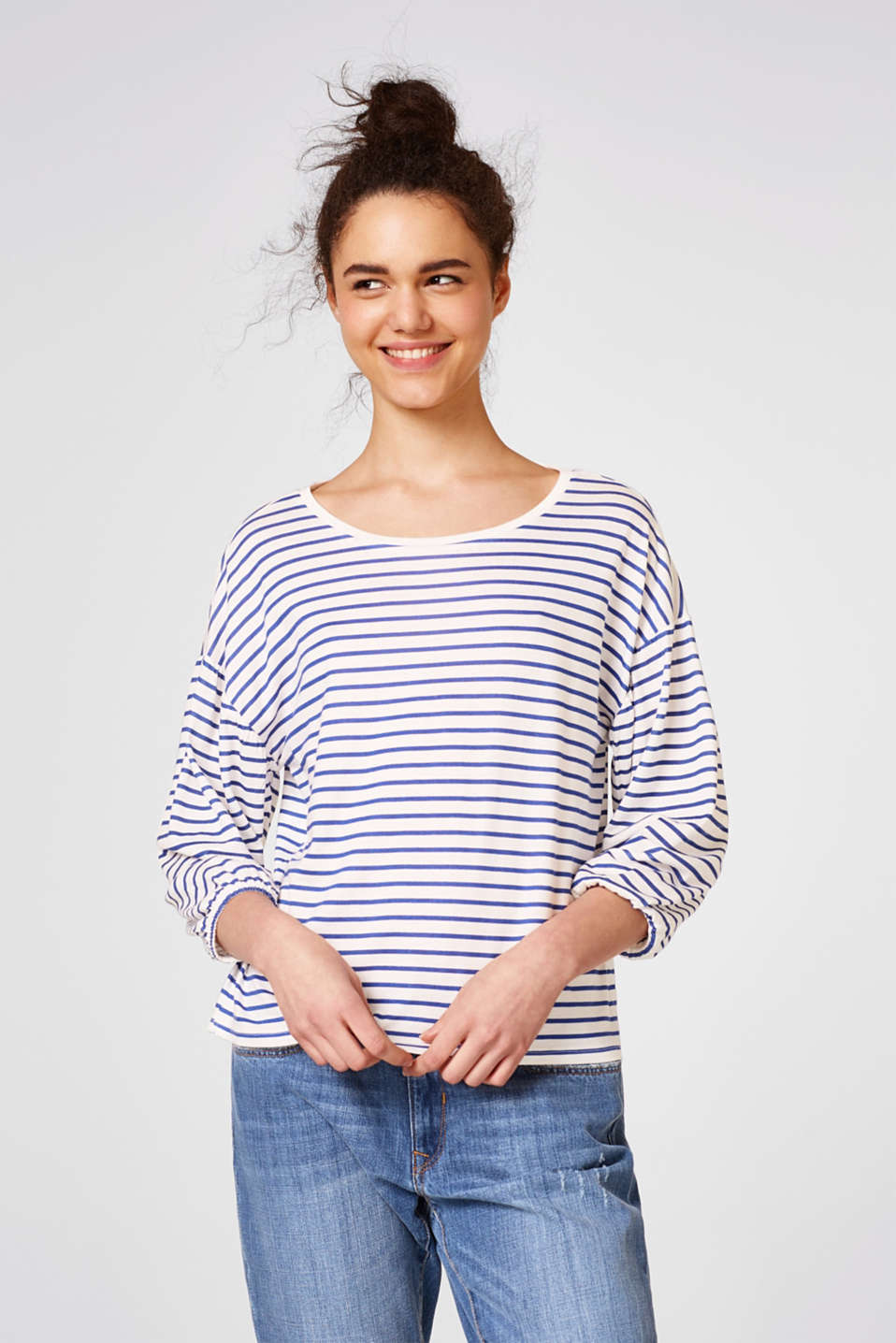 Esprit - Boxy top with balloon sleeves, cotton blend