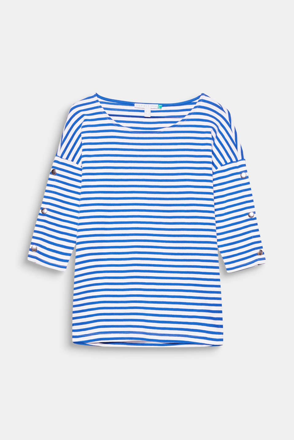 This striped T-shirt in environmentally friendly, organic cotton with press studs on the sleeves is super casual!