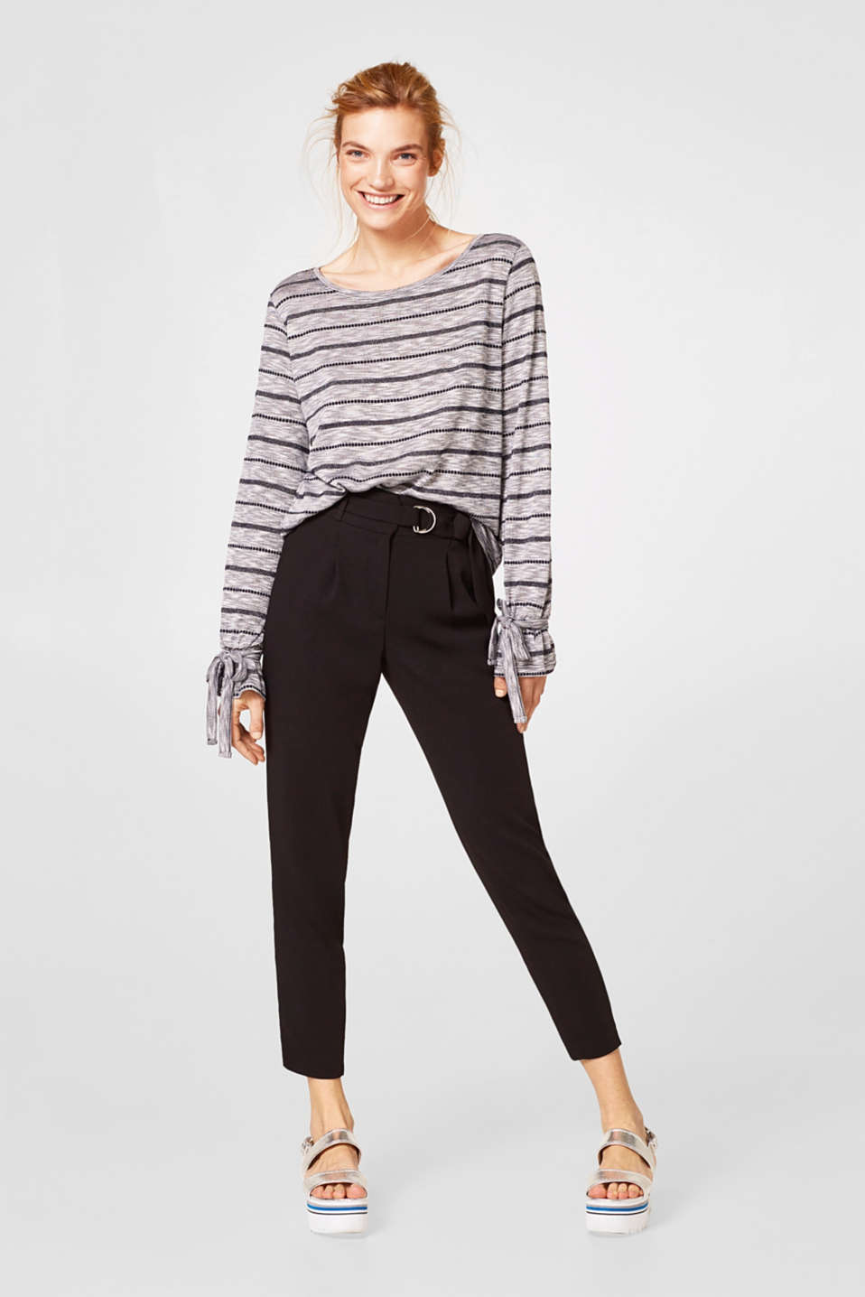 Melange long sleeve top with glitter stripes