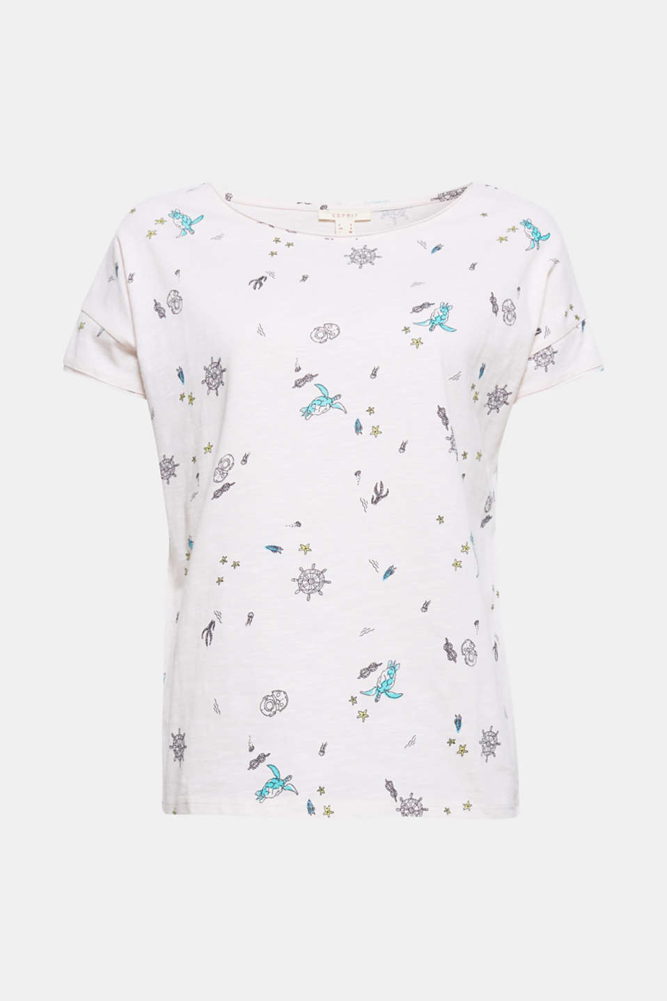 Dropped shoulders and unfinished edges make this printed T-shirt a casual, favourite piece!