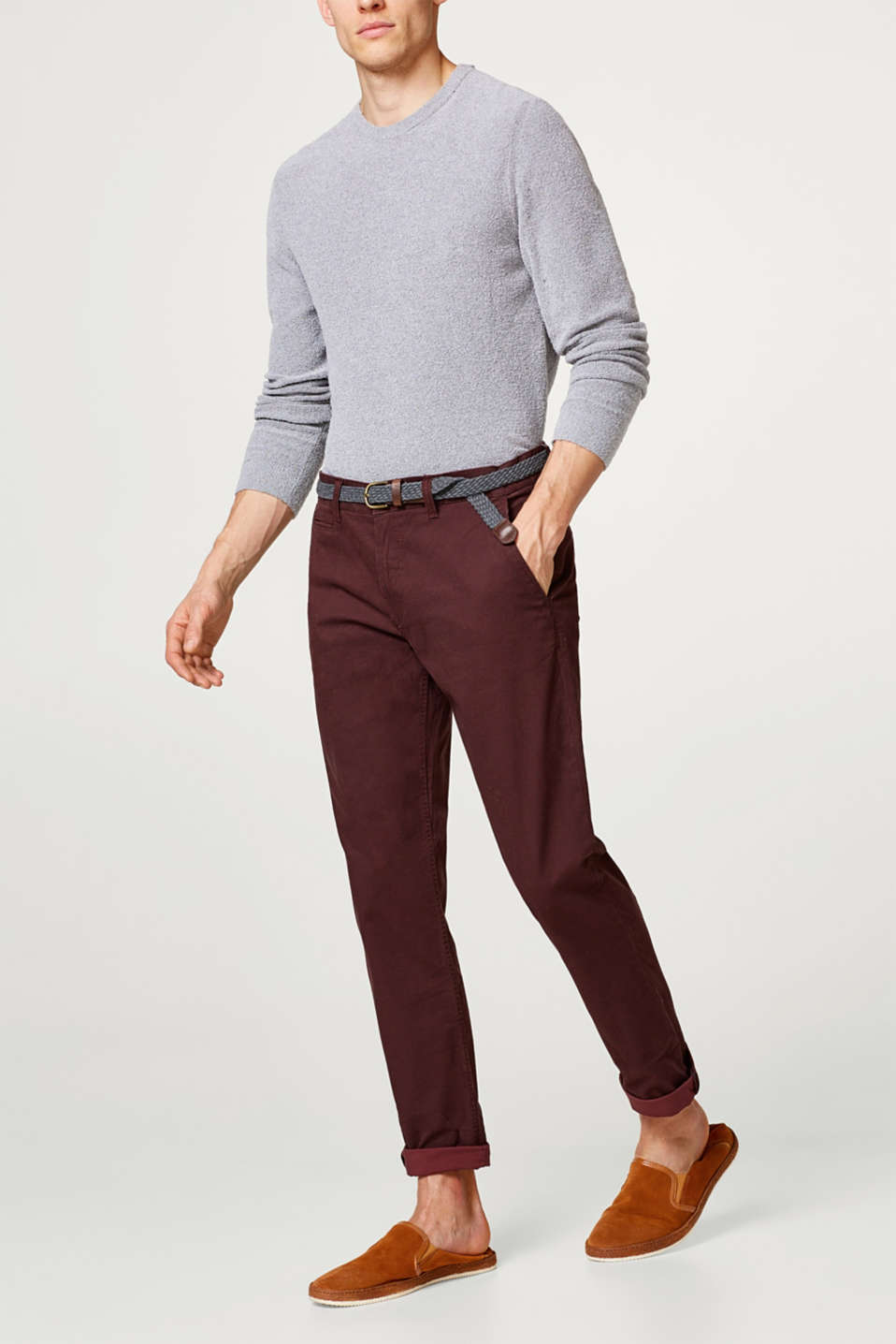 Esprit - Stretch-chinos med alloverprint