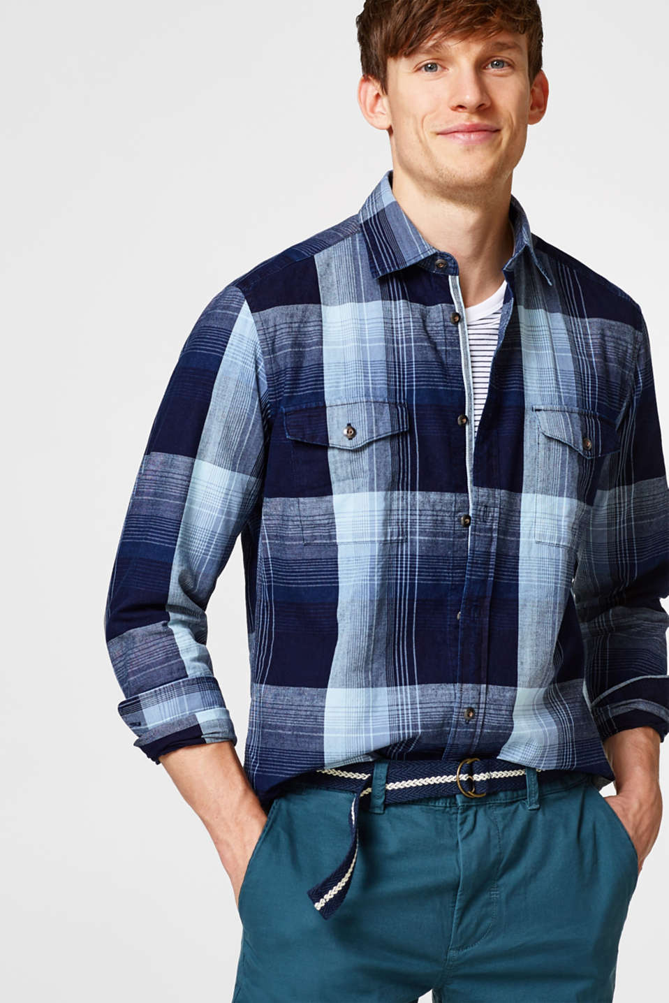 Esprit - Check shirt with deep indigo dye