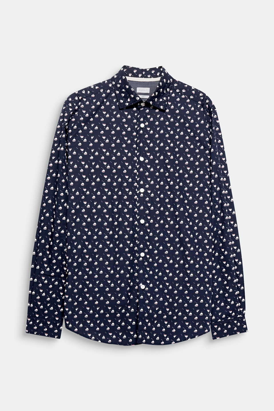 Nautical thanks to the small boat print: this pure cotton poplin shirt.