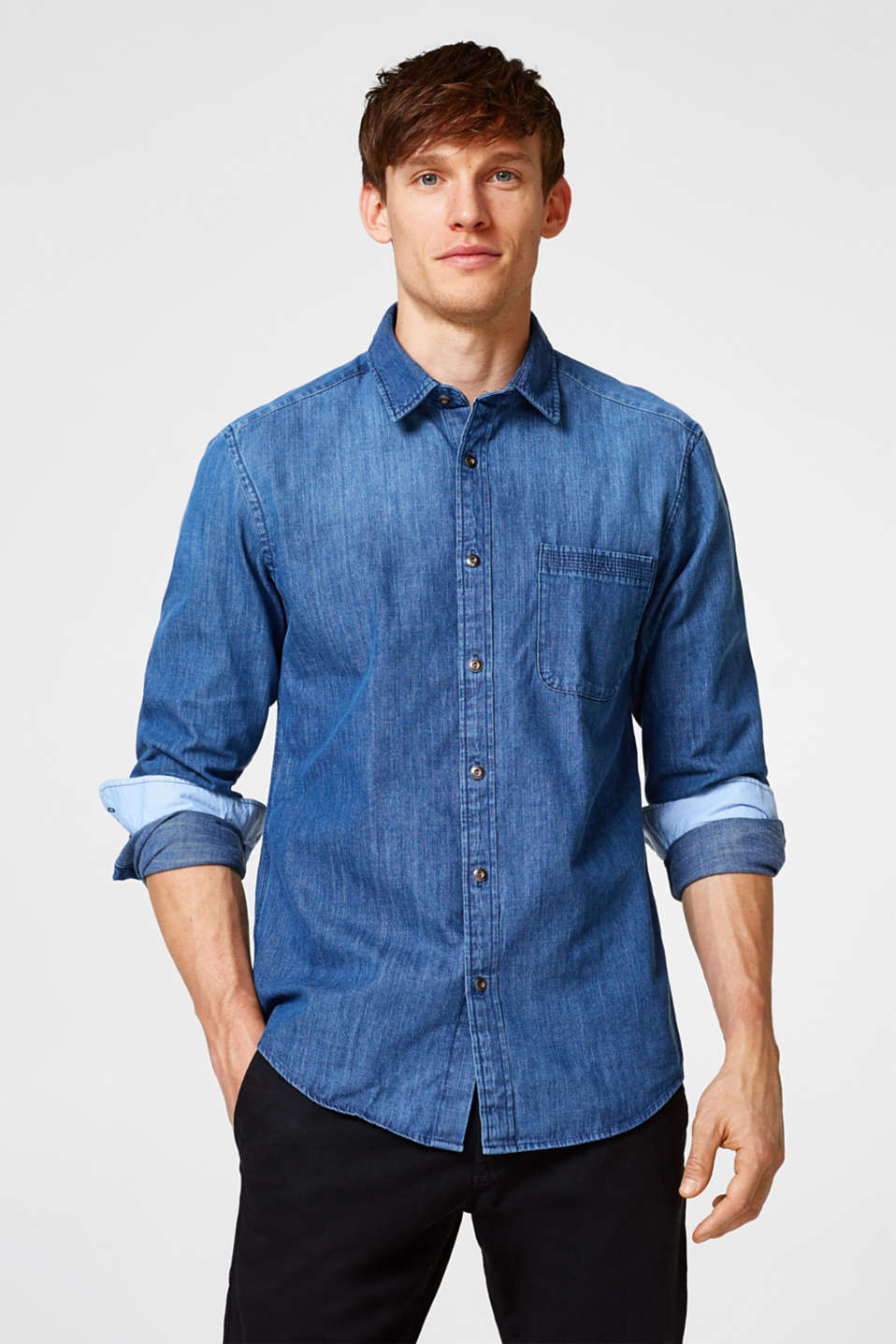 Esprit - Denim shirt in pure cotton