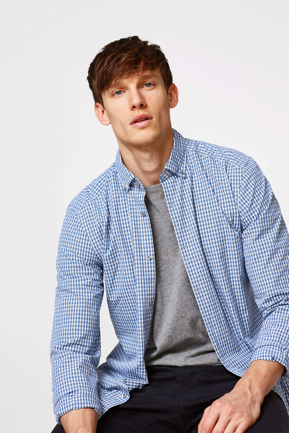 Esprit - Cotton shirt with a small tartan