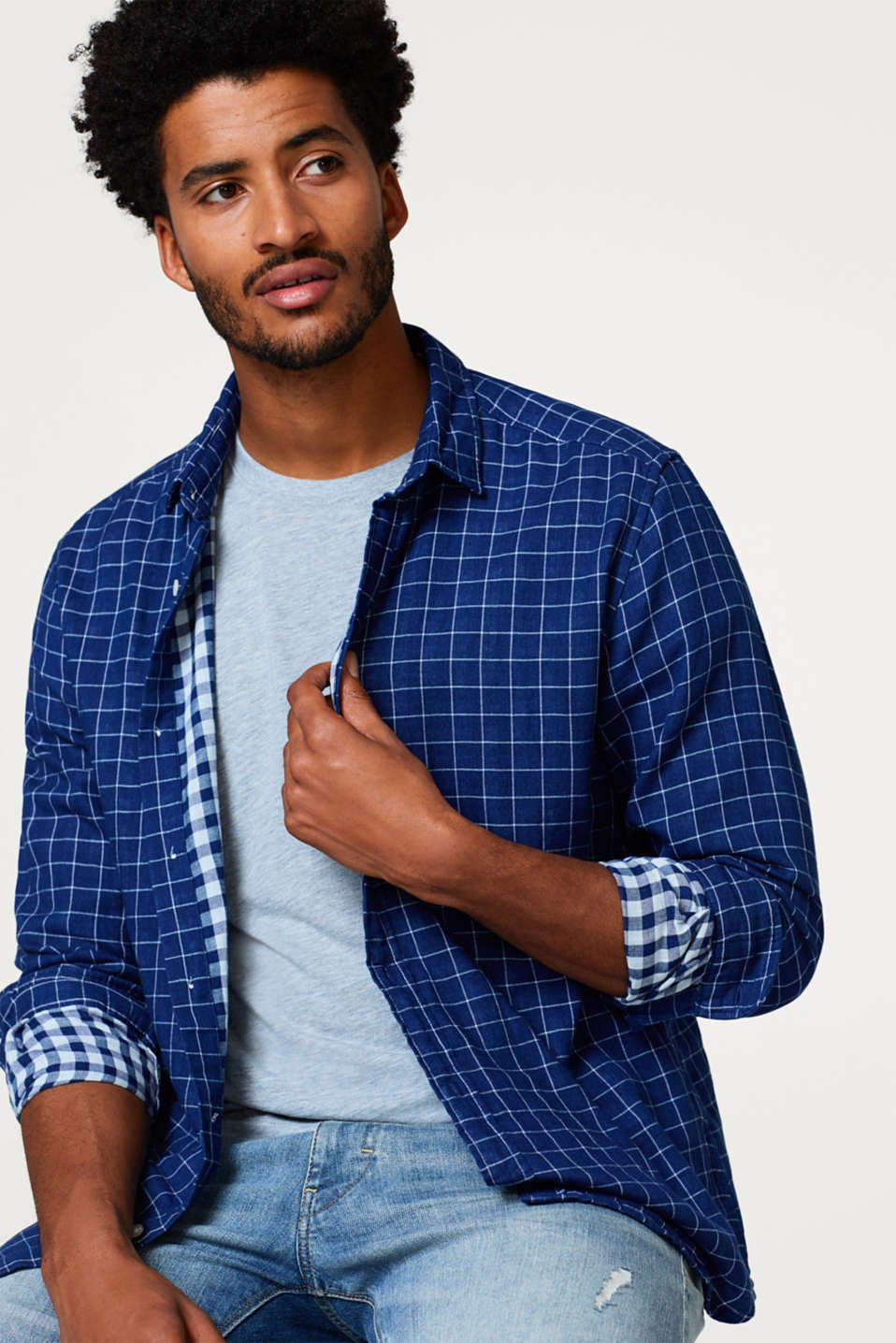 Esprit - Check shirt in double-faced cotton