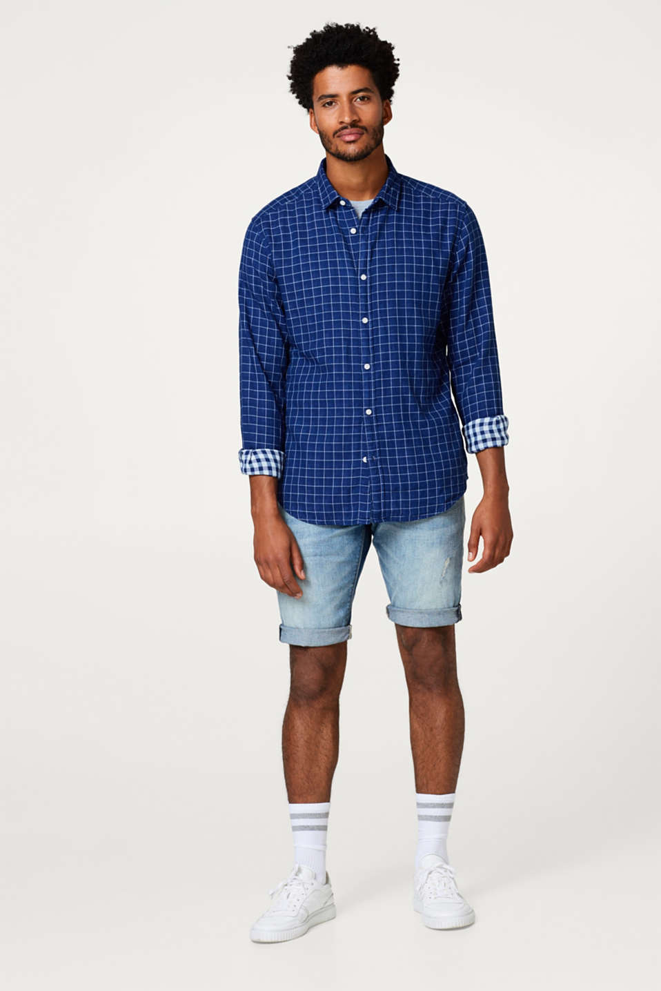 Check shirt in double-faced cotton