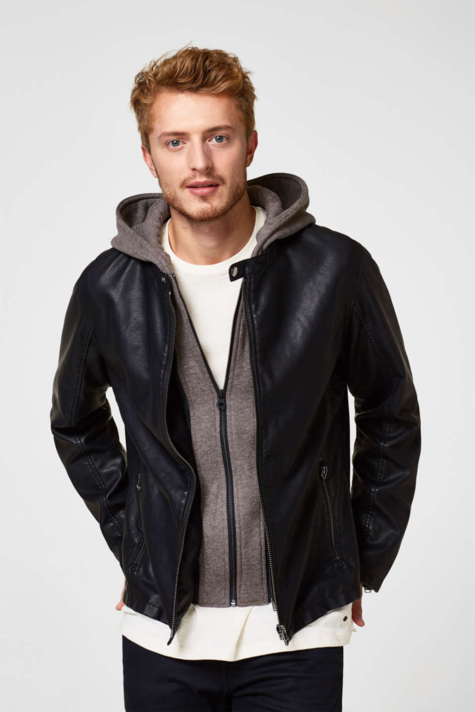 Esprit faux leather biker jacket in black