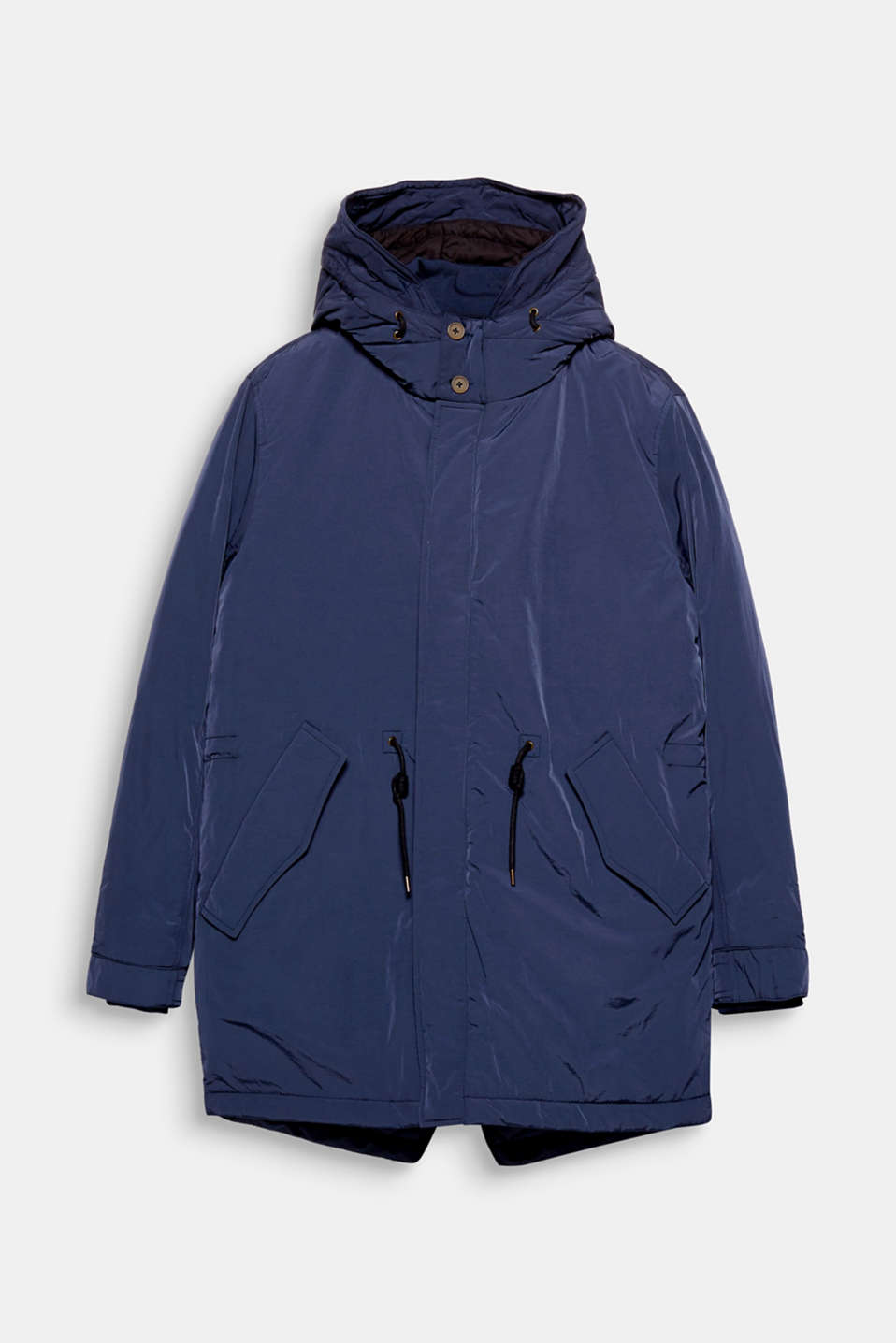 Perfect for the change in seasons: Hooded parka with a shimmering outer surface.