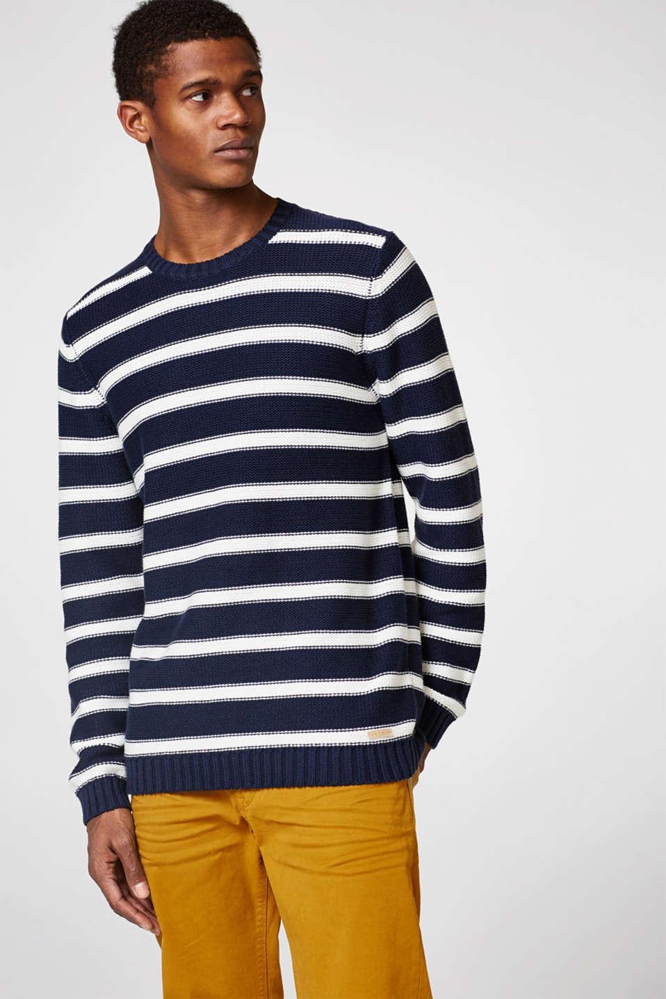 esprit grobstrick sweater mit maritimen streifen im online shop kaufen. Black Bedroom Furniture Sets. Home Design Ideas